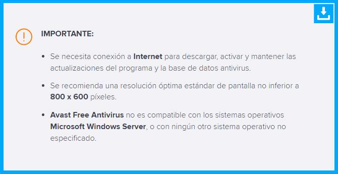 Precauciones y detalles a tener en cuanta al instalar y configurar el free Avast antivirus