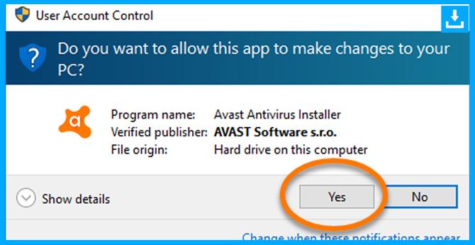 permisos para instalar el avast antivirus
