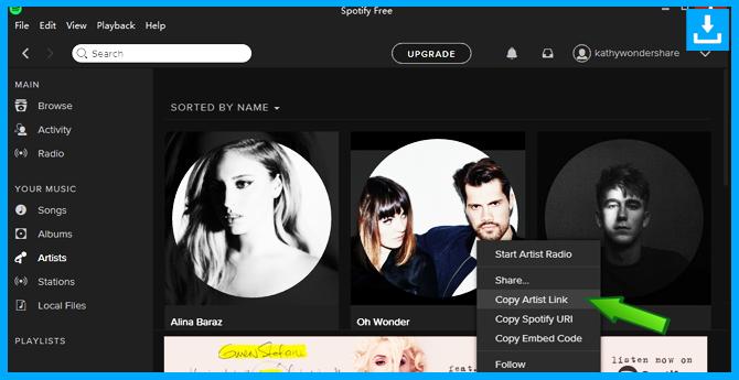 Descarga la música de Spotify copiaando el enlace del artista