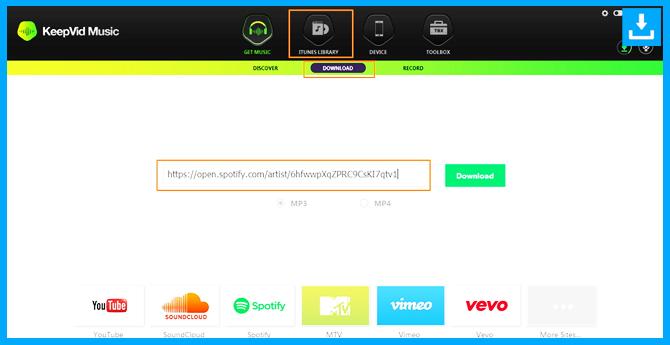 Descargar musica de Spotify pega el enlace a la ventana de descarga