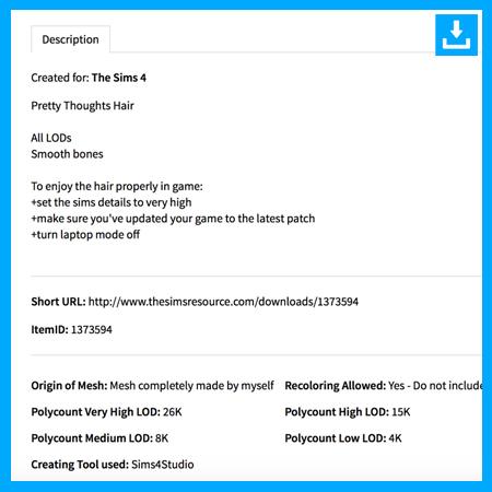 contenido personalizado descargado par Sims 4