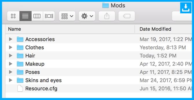 contenido personalizado organizado en la carpeta Mods