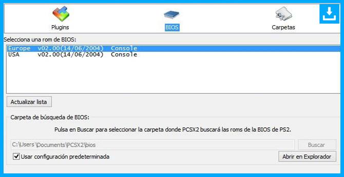 Seleccionar la Bios del PlayStation 2 para el emulador PCSX2